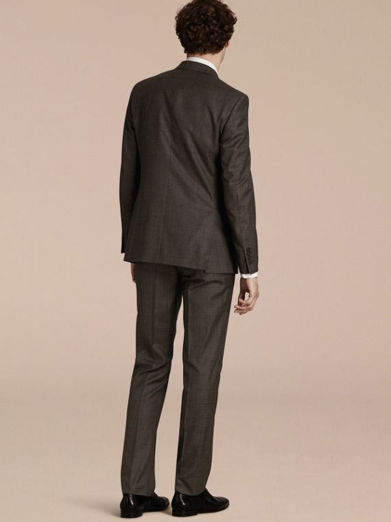 Dark grey melange Modern Fit Check Wool Part-canvas Suit - cell image 2