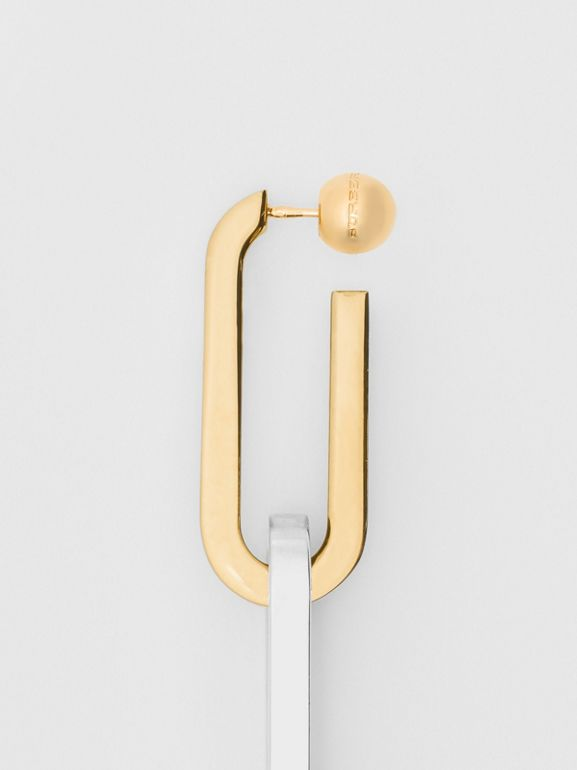Gold and Palladium-plated Double-link Drop Earring in Light - Women | Burberry United Kingdom - cell image 1