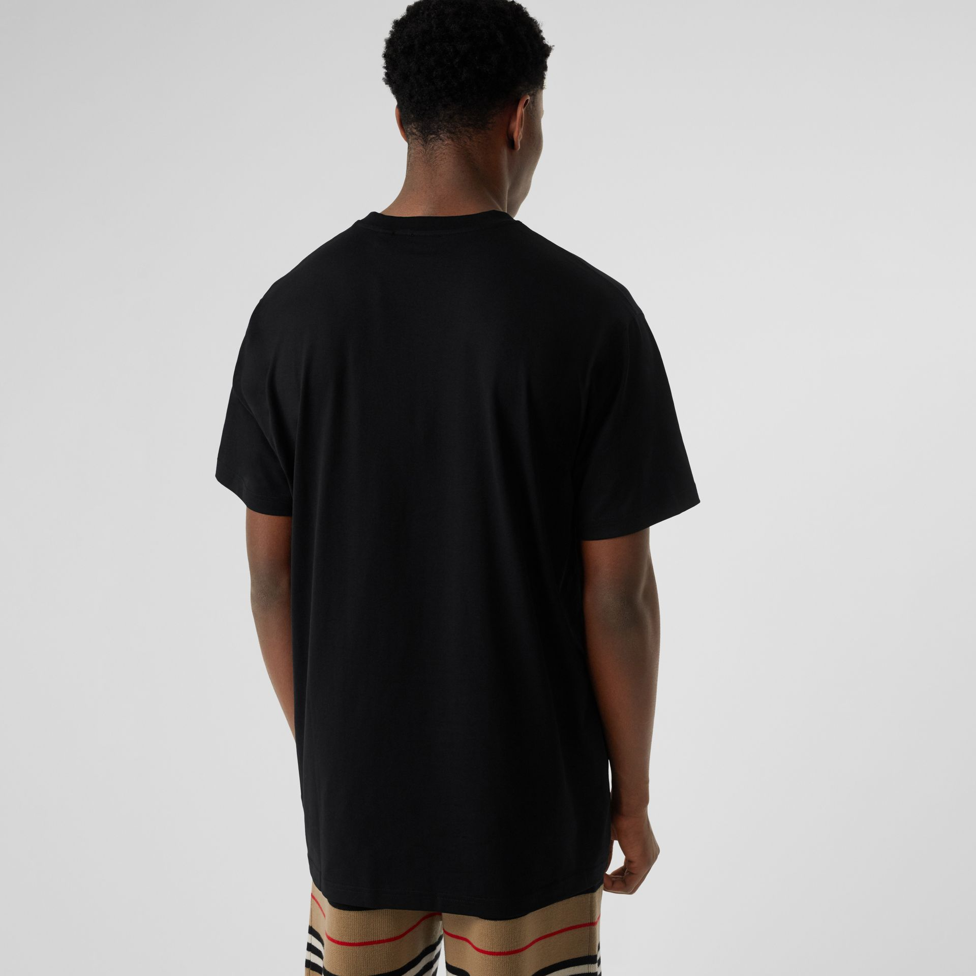 Logo Print Cotton Oversized T-shirt in Black - Men | Burberry - gallery image 2