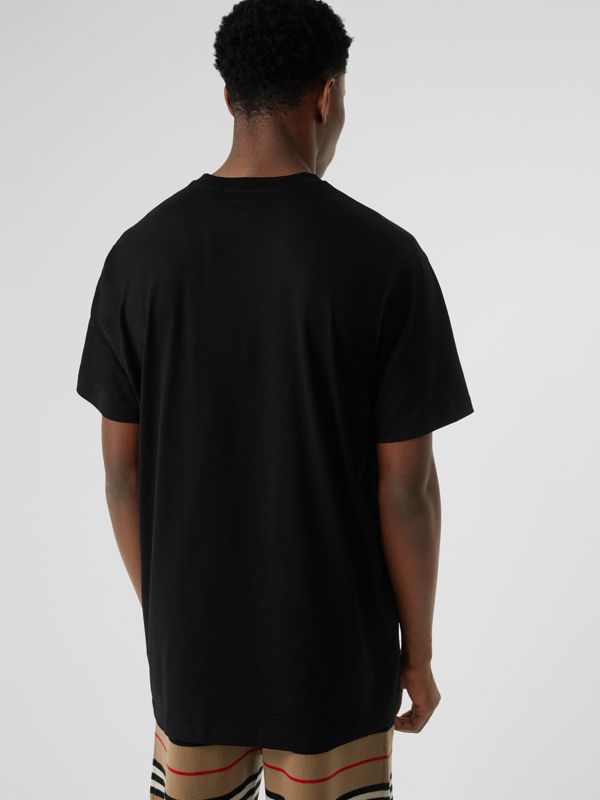 Logo Print Cotton Oversized T-shirt in Black - Men | Burberry - cell image 2