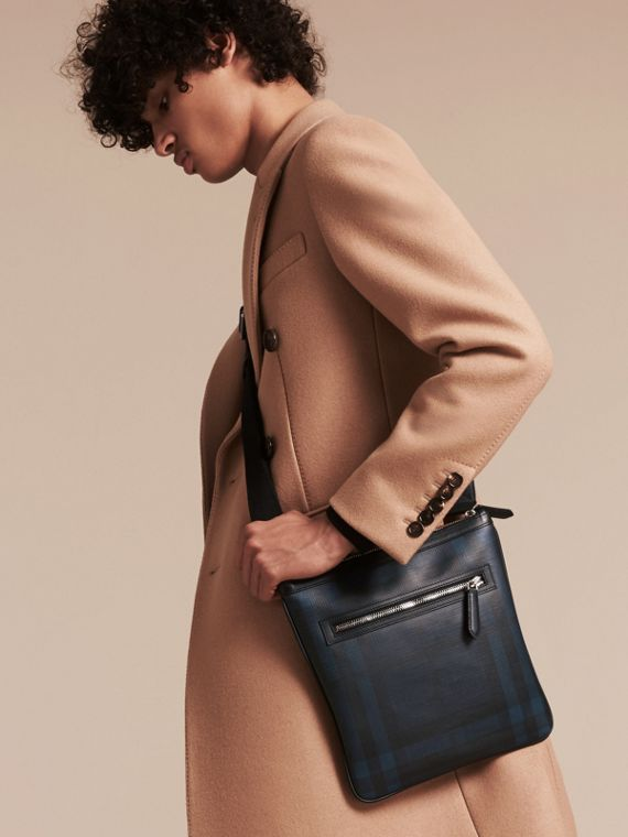 Leather Trim London Check Crossbody Bag in Navy/black - Men | Burberry - cell image 2
