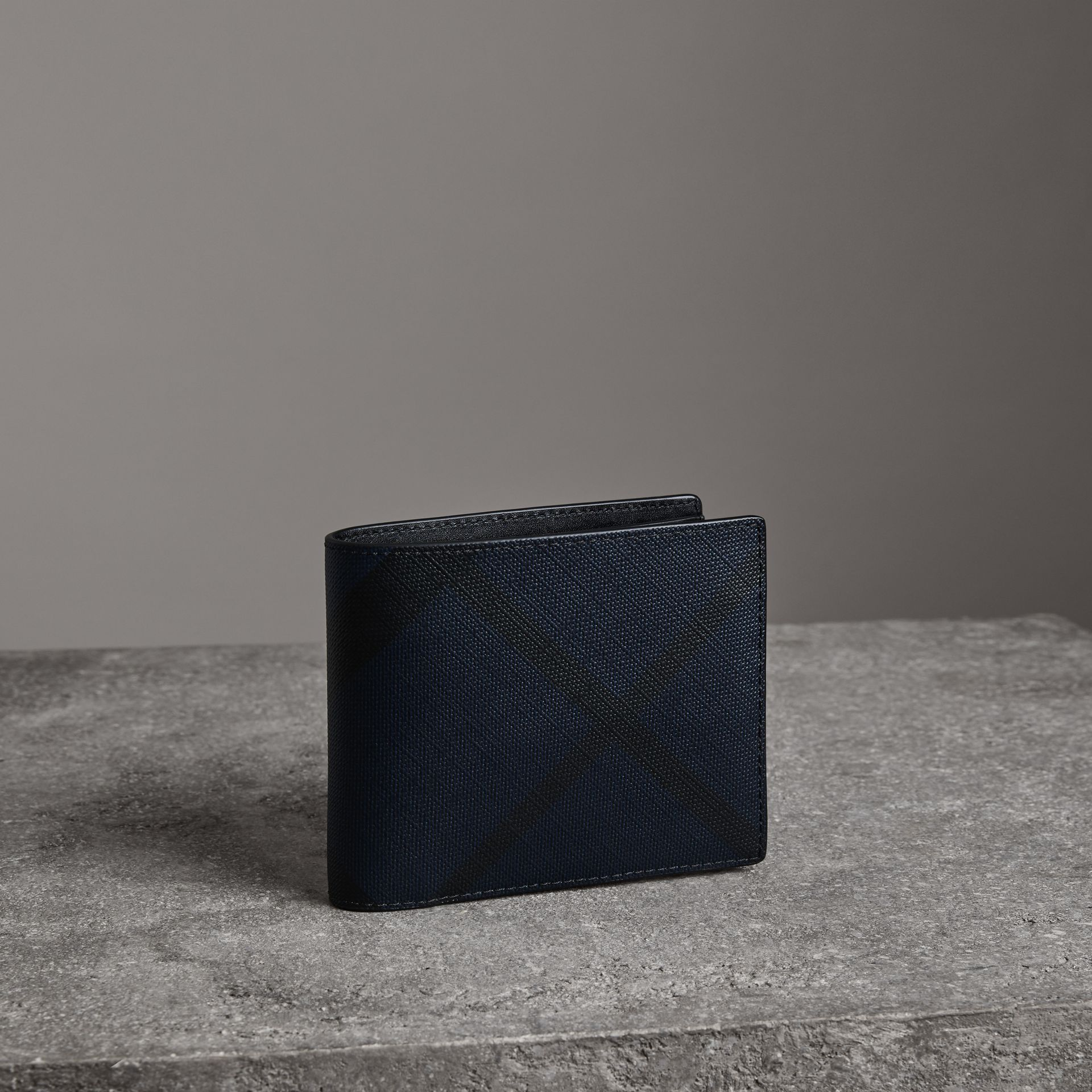 London Check Bifold Wallet with Removable Card Case in Navy/black - Men | Burberry Singapore - gallery image 0