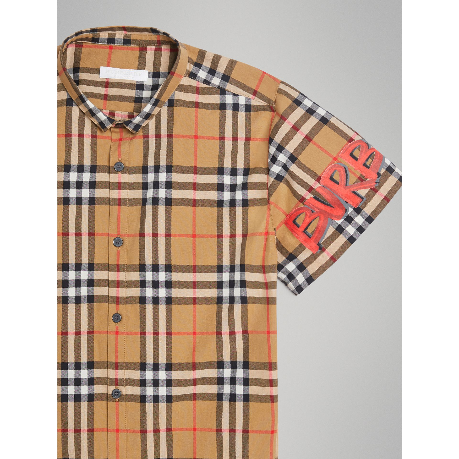 Short-sleeve Graffiti Print Check Cotton Shirt in Antique Yellow | Burberry - gallery image 5