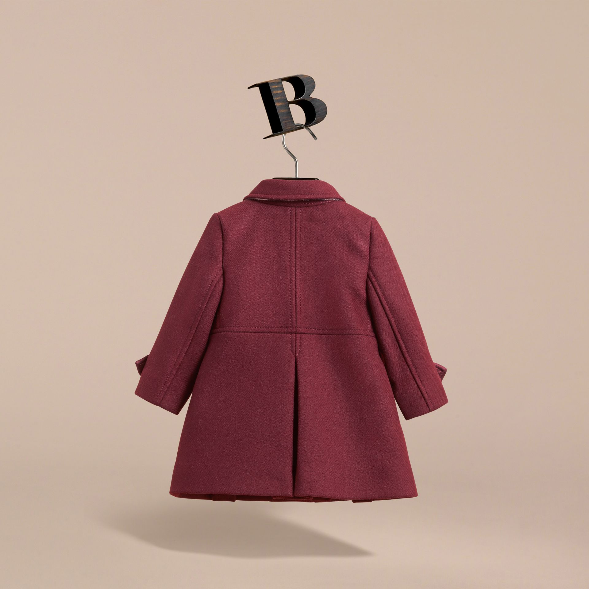 Wool Cashmere Blend Twill Tailored Coat in Garnet | Burberry - gallery image 4