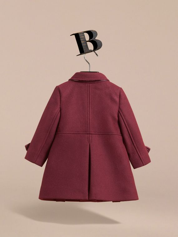 Wool Cashmere Blend Twill Tailored Coat in Garnet | Burberry Canada - cell image 3