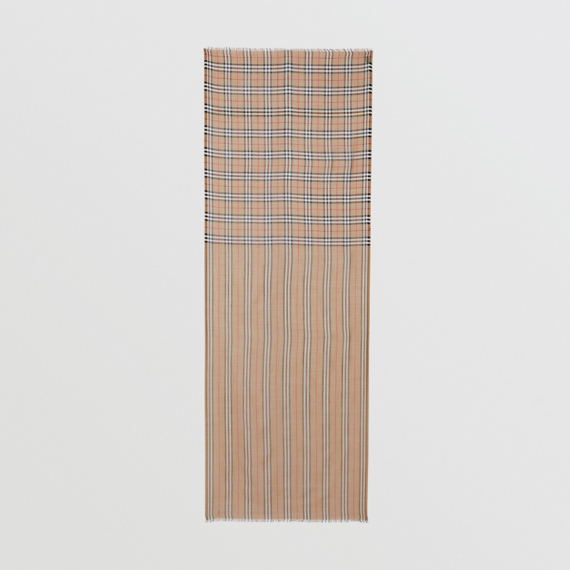 Icon Stripe and Vintage Check Wool Silk Scarf in Archive Beige | Burberry United Kingdom - gallery image 4