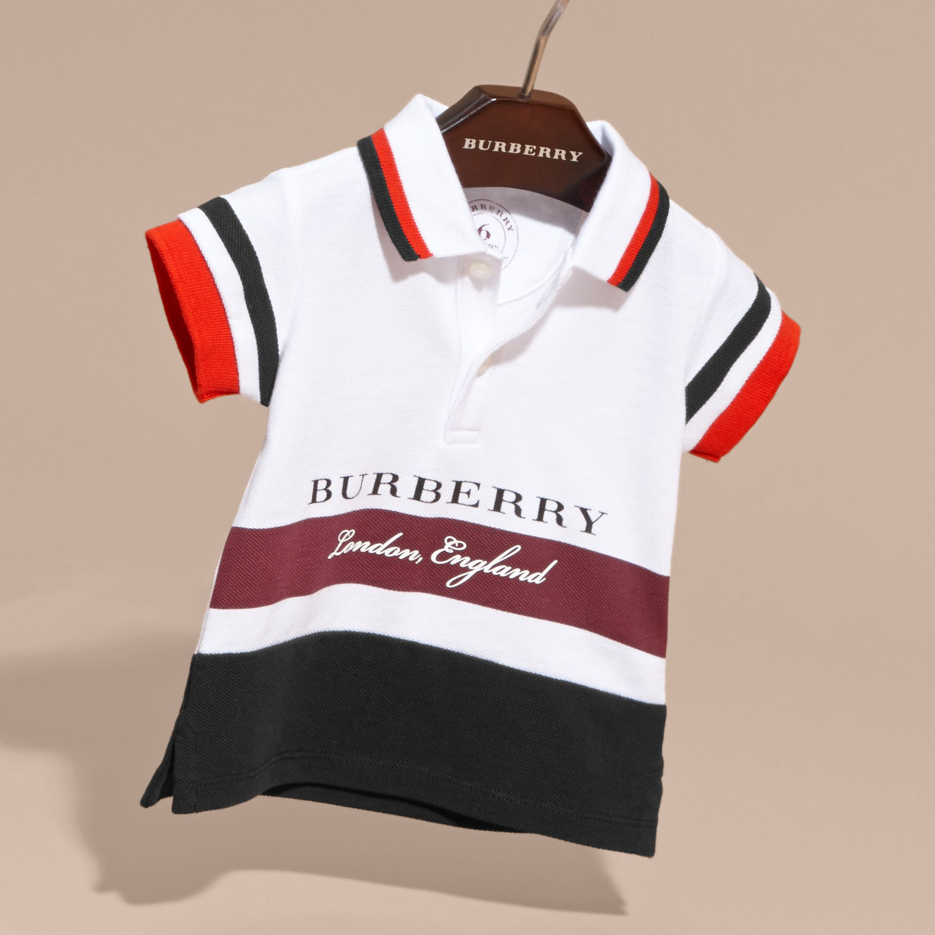 Multi Stripe Cotton Piqué Polo Shirt Claret - gallery image 3