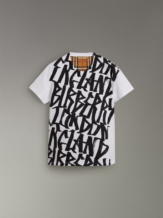 Graffiti Print and Vintage Check T-shirt in White - Women | Burberry - cell image 3