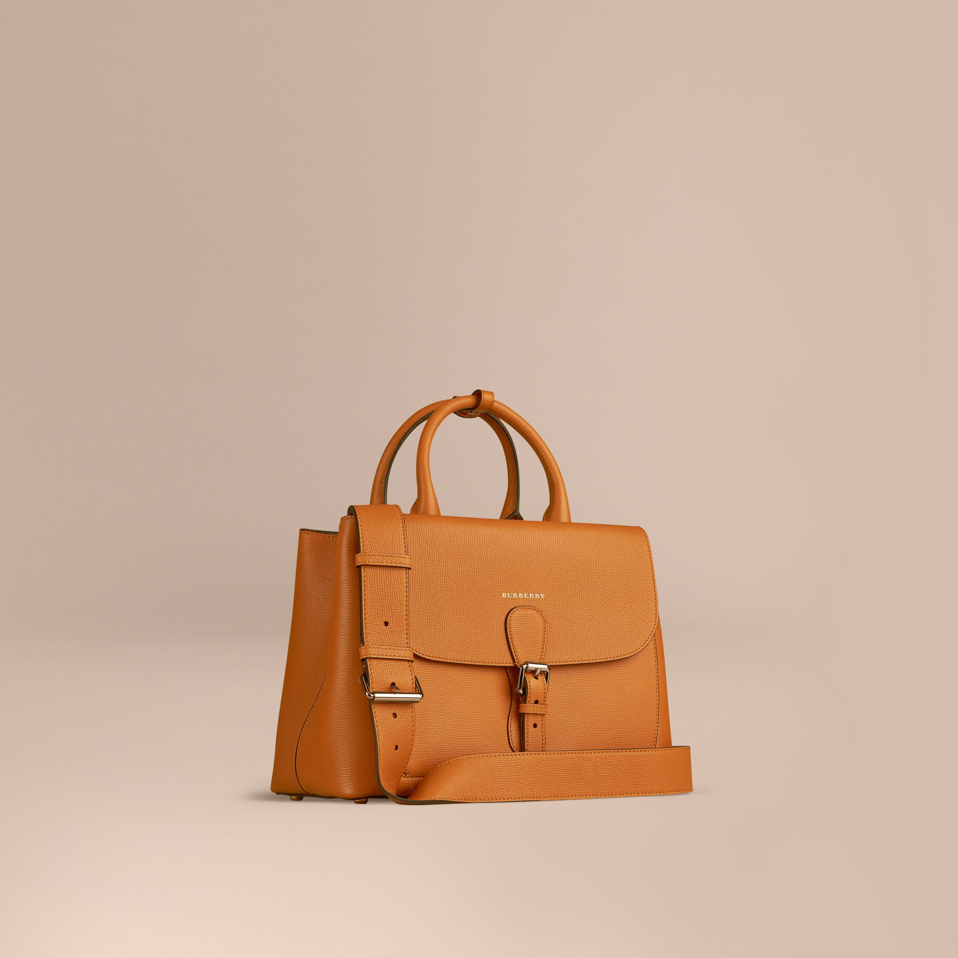 Cognac The Medium Saddle Bag in Grainy Bonded Leather Cognac - gallery image 1