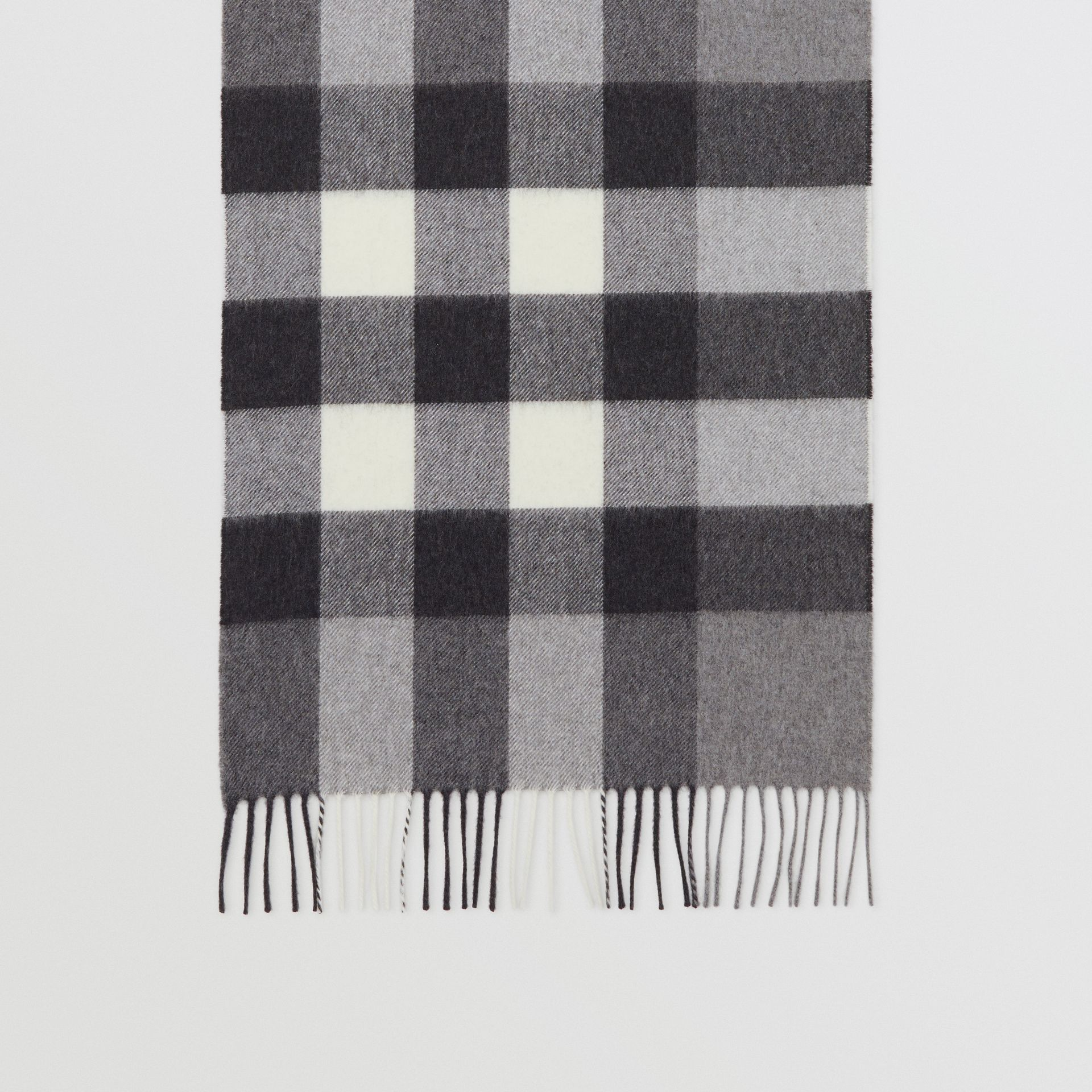 Check Cashmere Scarf in Grey | Burberry United Kingdom - gallery image 3
