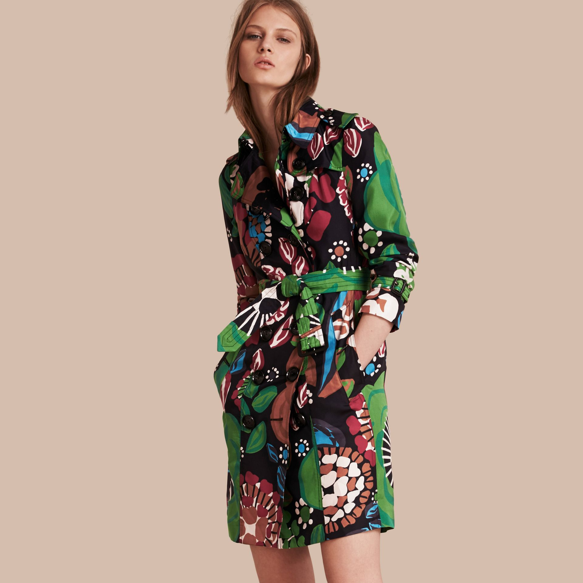 Deep navy Floral Print Silk Trench Coat - gallery image 1
