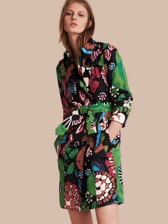 Floral Print Silk Trench Coat