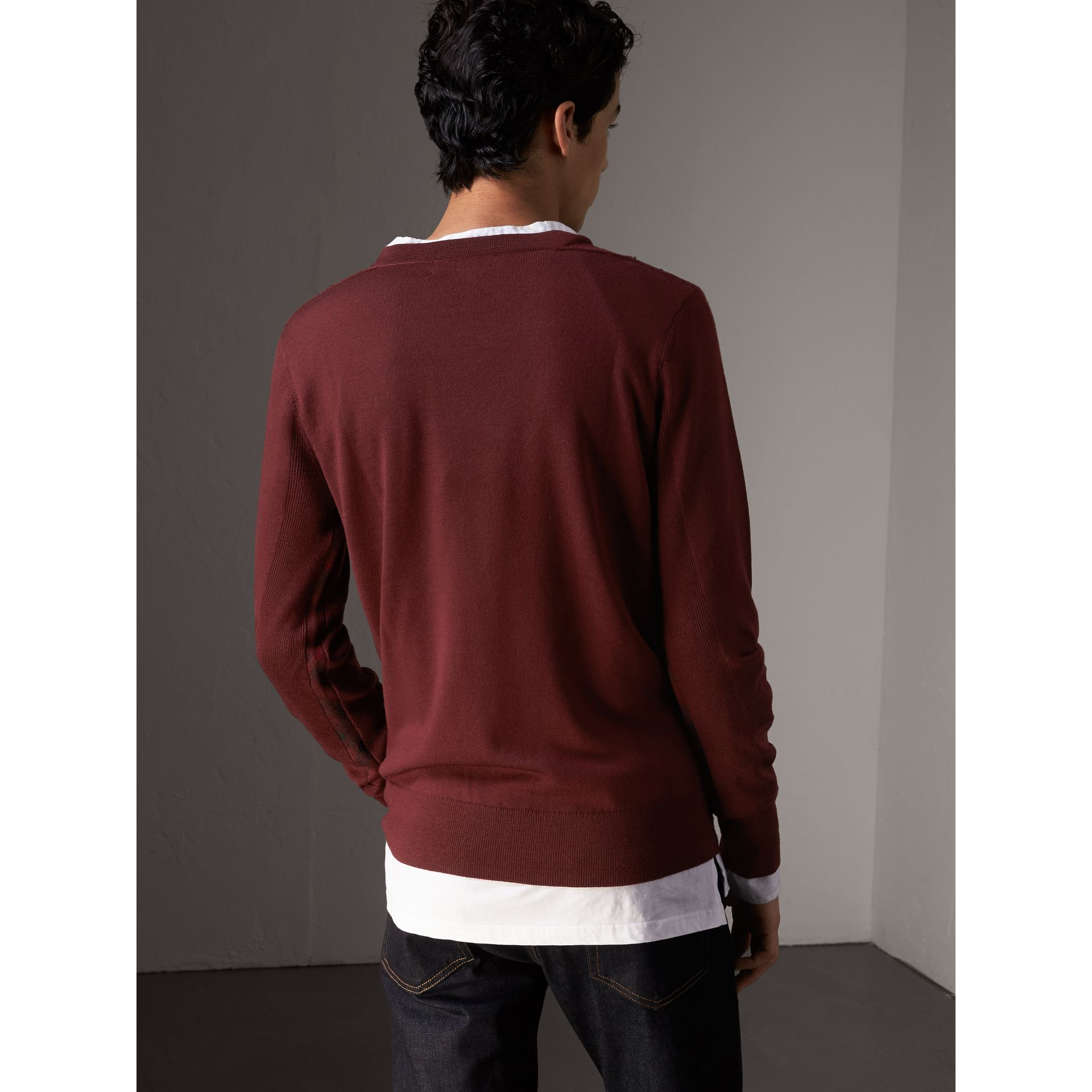 Check Detail Merino Wool Sweater in Burgundy - Men | Burberry Canada - gallery image 2