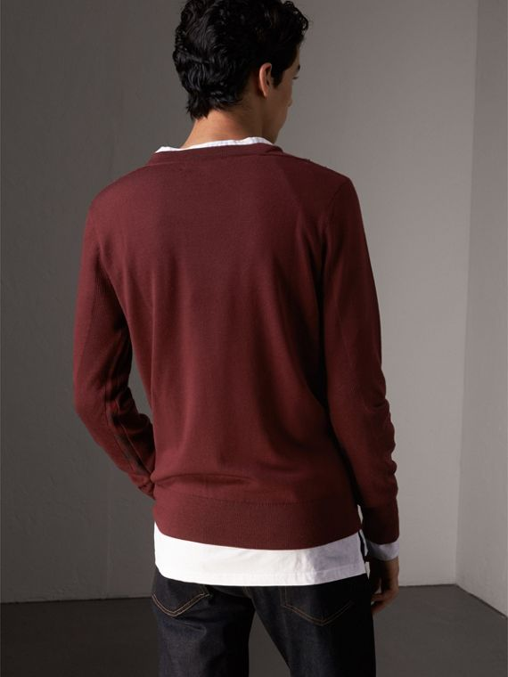 Check Detail Merino Wool Sweater in Burgundy - Men | Burberry - cell image 2