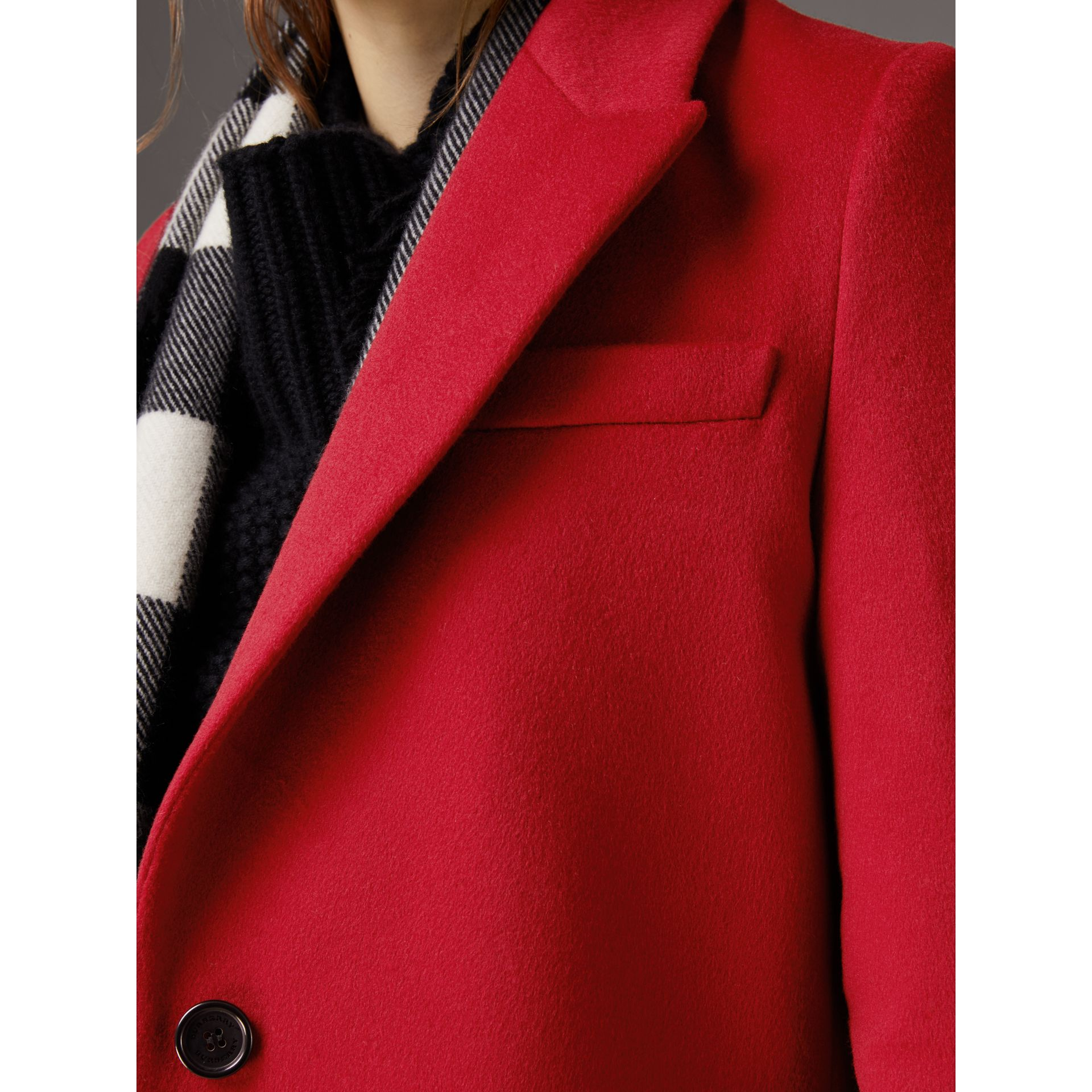 Wool Cashmere Tailored Coat in Parade Red - Women | Burberry Singapore - gallery image 4