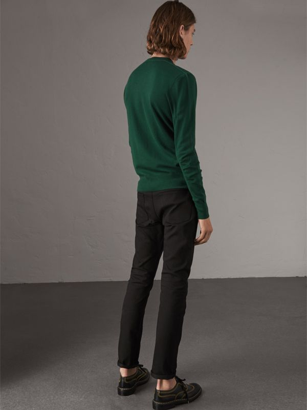 Check Detail Merino Wool V-neck Sweater in Dark Teal - Men | Burberry - cell image 2
