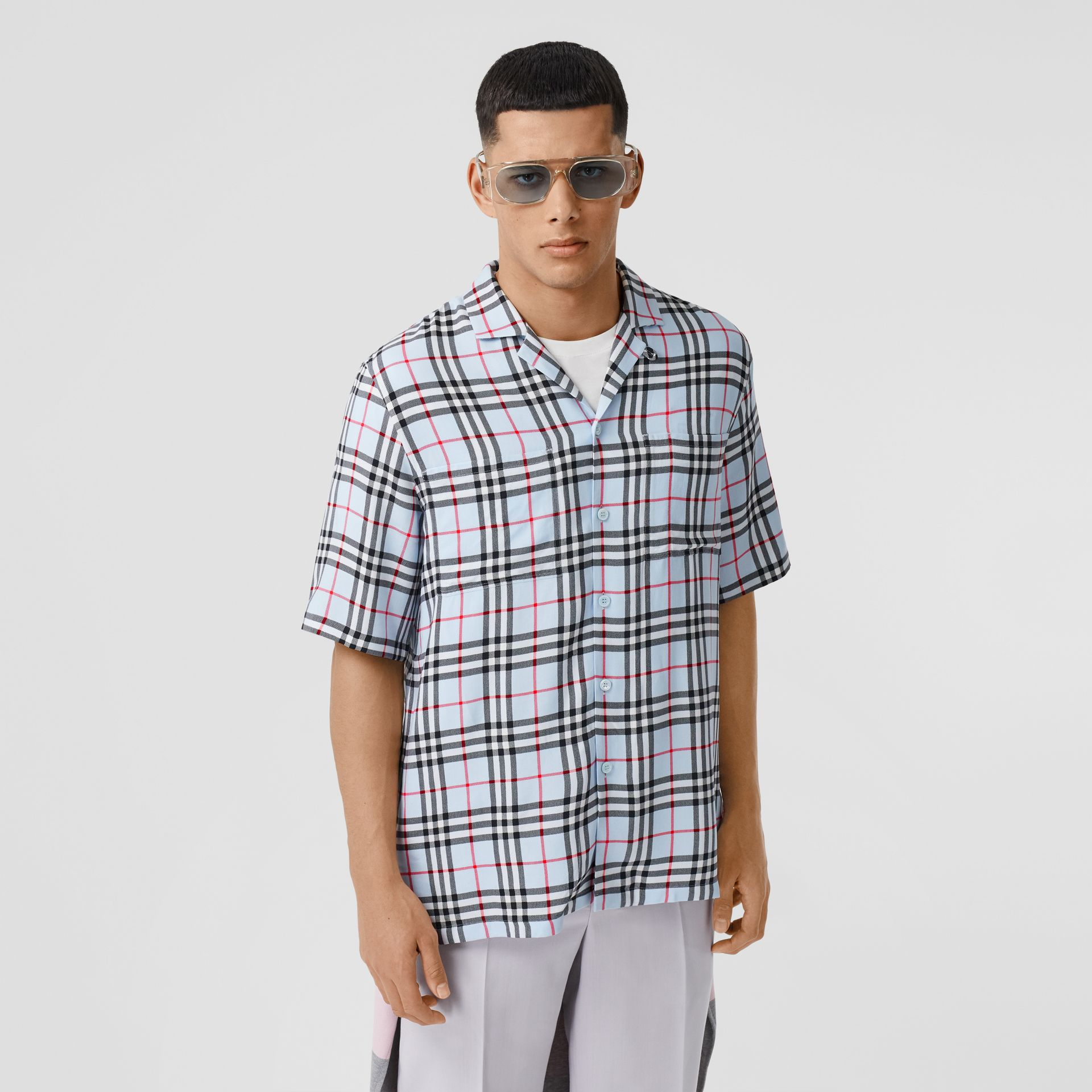 Short-sleeve Vintage Check Twill Shirt in Pale Blue - Men | Burberry United Kingdom - gallery image 0
