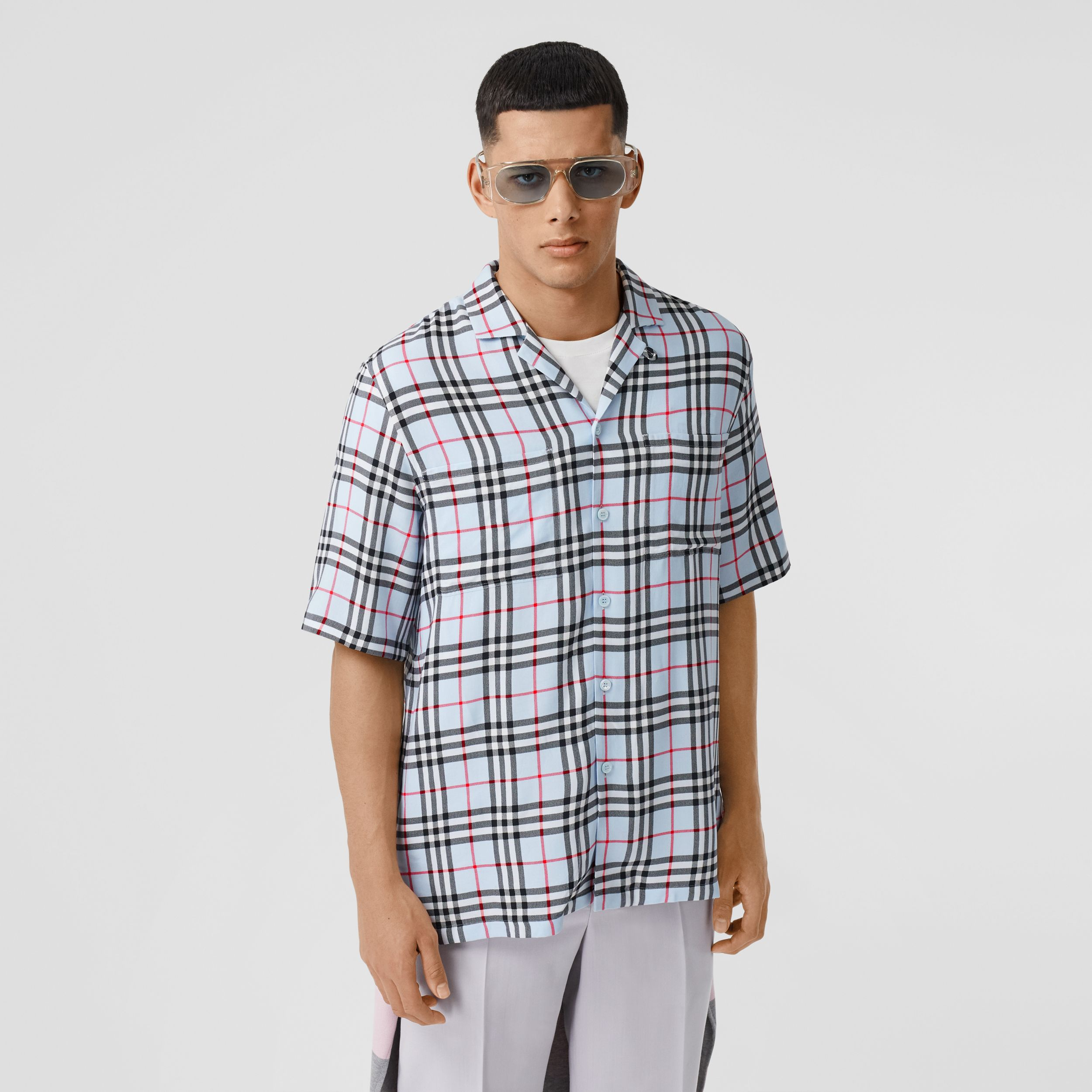 Short-sleeve Vintage Check Twill Shirt in Pale Blue - Men | Burberry Australia - 1