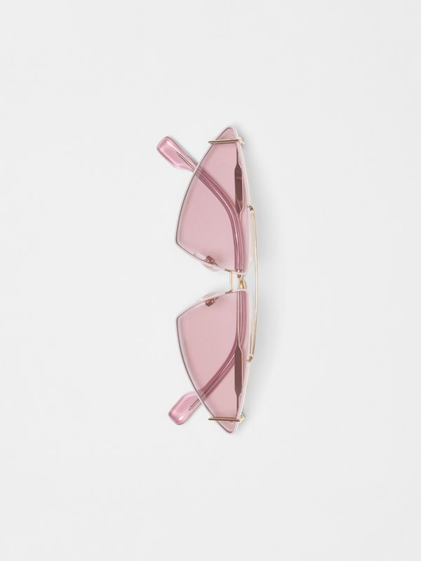 Gold-plated Triangular Frame Sunglasses in Blush Pink - Women | Burberry - cell image 3