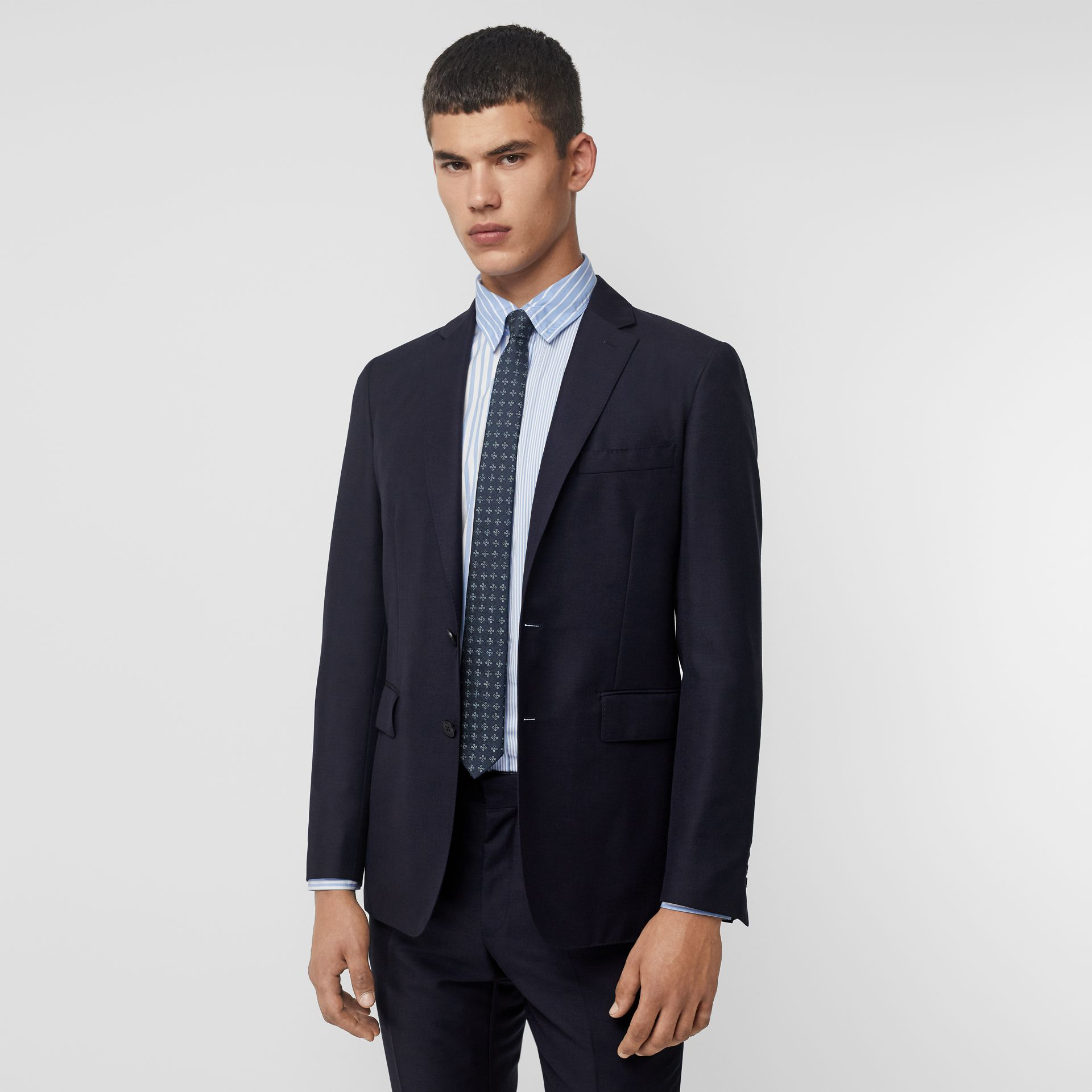 Slim Fit Wool Mohair Silk Suit in Navy - Men | Burberry Australia - gallery image 7