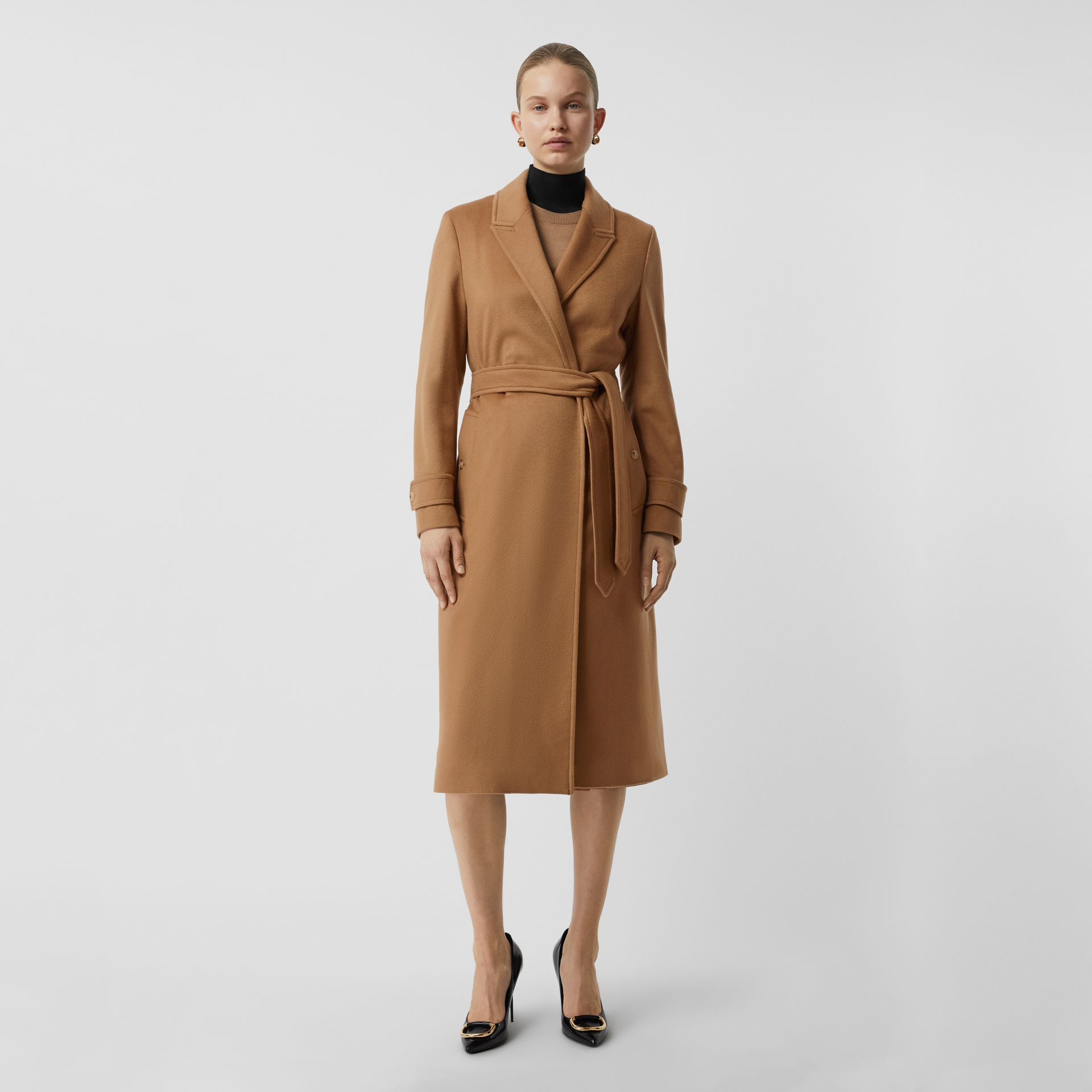 Peak Lapel Cashmere Wrap Coat in Dark Sand - Women | Burberry United Kingdom - gallery image 0