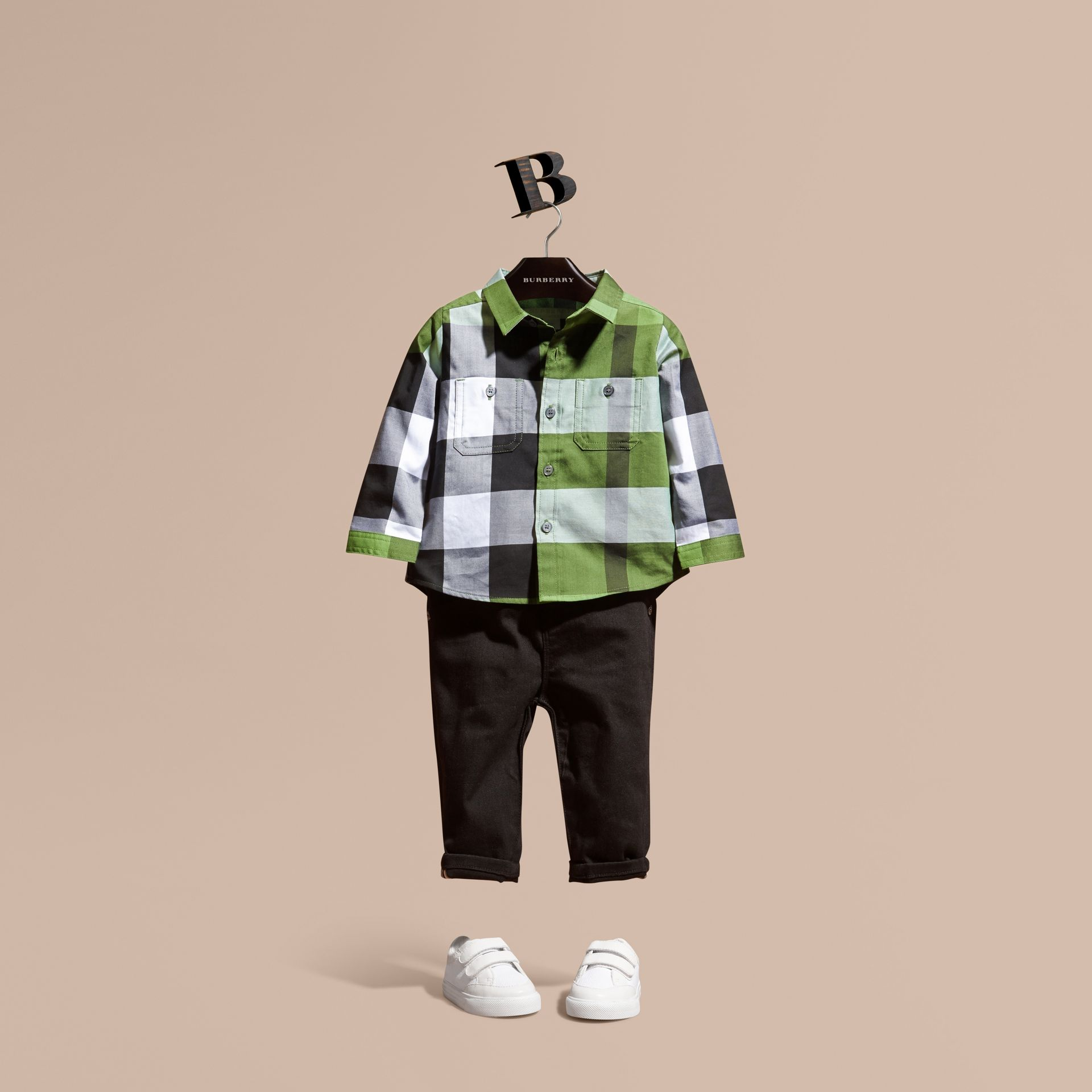 Bright fern green Check Cotton Shirt Bright Fern Green - gallery image 1