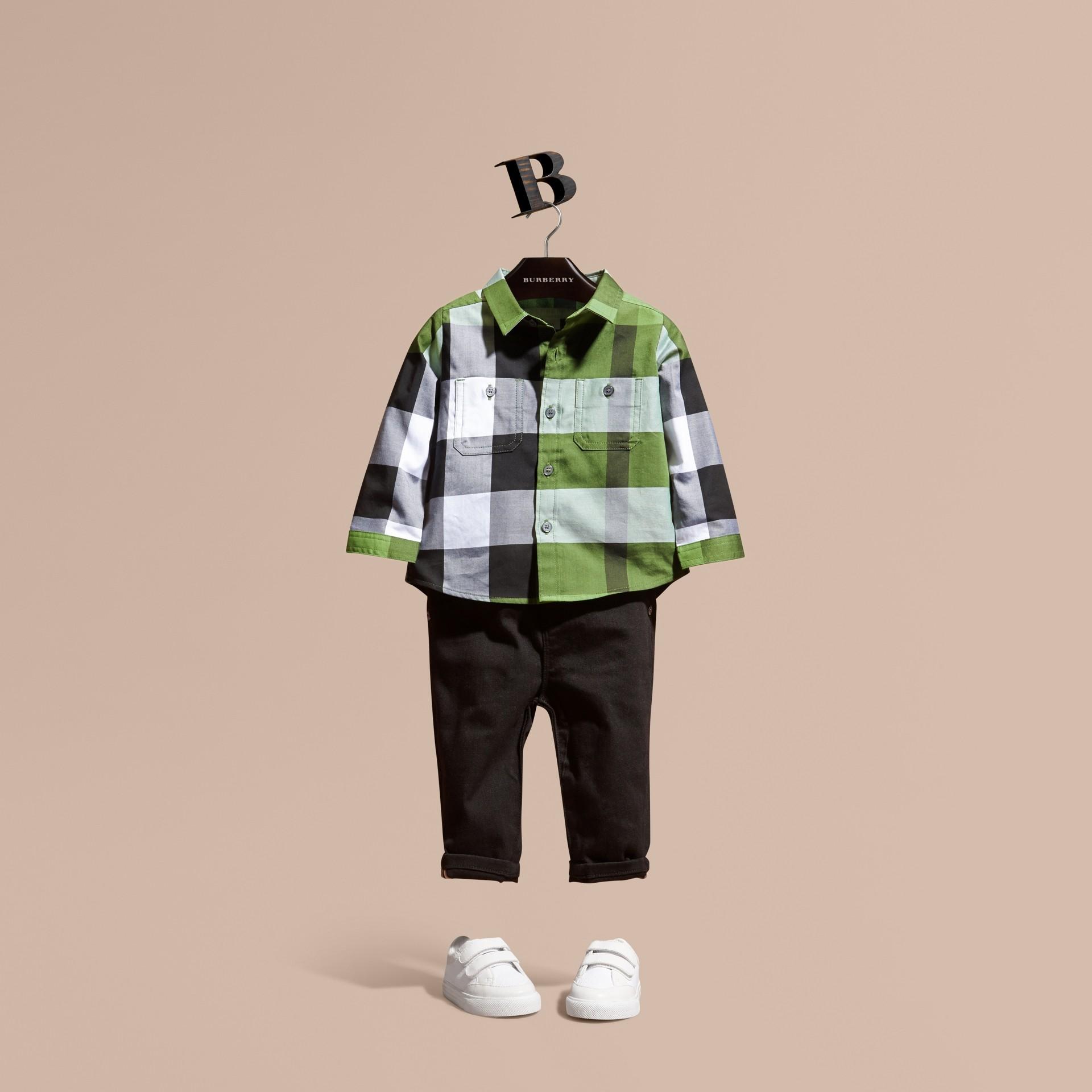 Verde felce brillante Camicia in cotone con motivo check Verde Felce Brillante - immagine della galleria 1