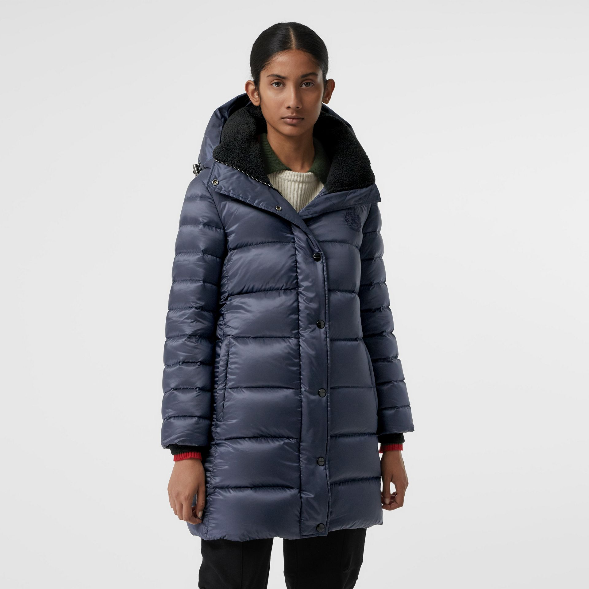 Down-filled Hooded Puffer Coat in Navy - Women | Burberry United Kingdom - gallery image 4