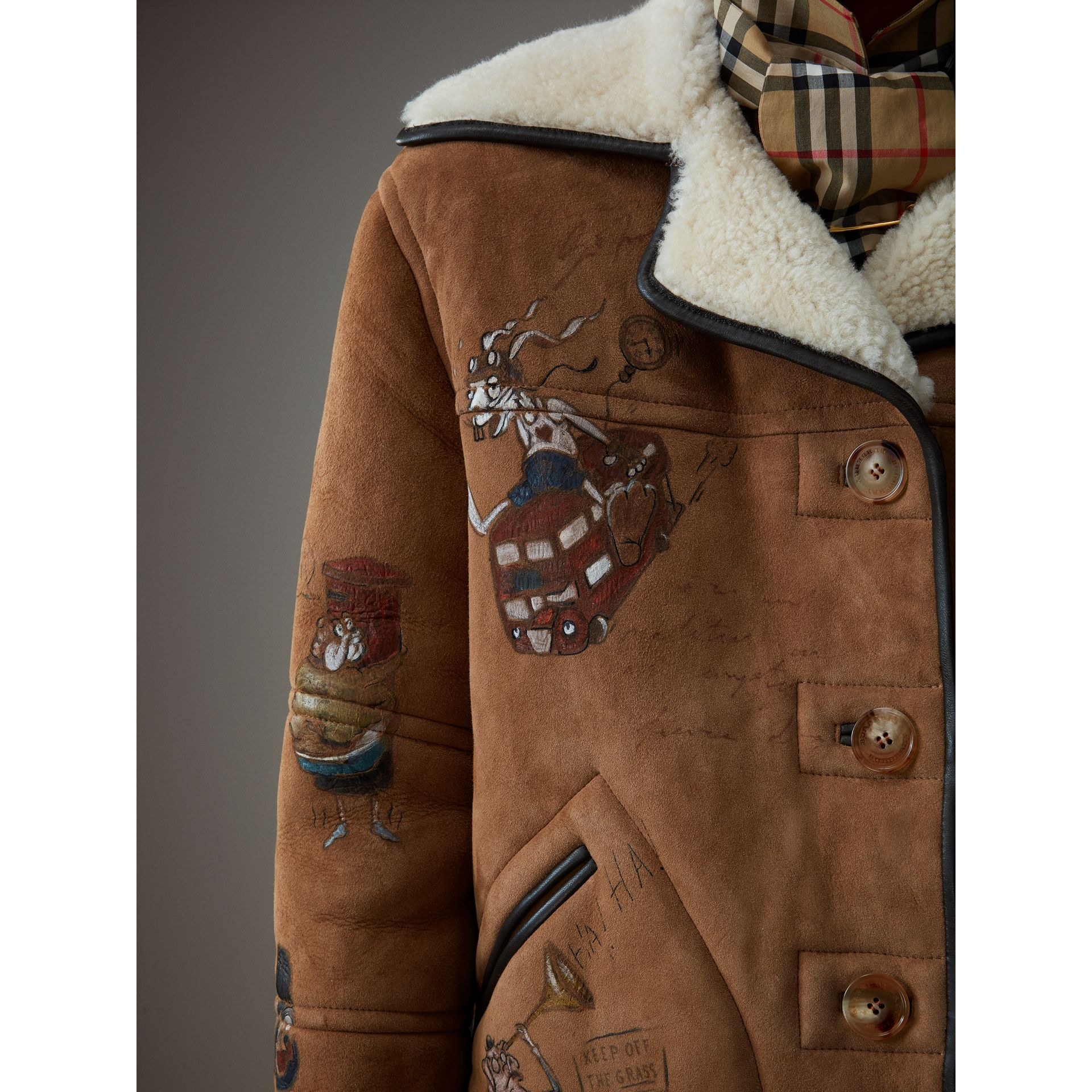 Sketch Print Shearling Jacket in Caramel - Women | Burberry - gallery image 1