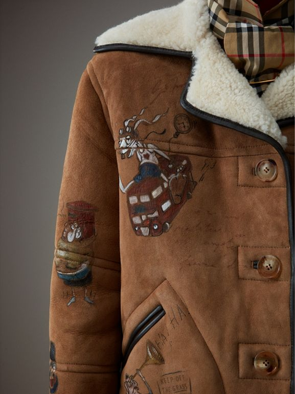 Sketch Print Shearling Jacket in Caramel - Women | Burberry United Kingdom - cell image 1