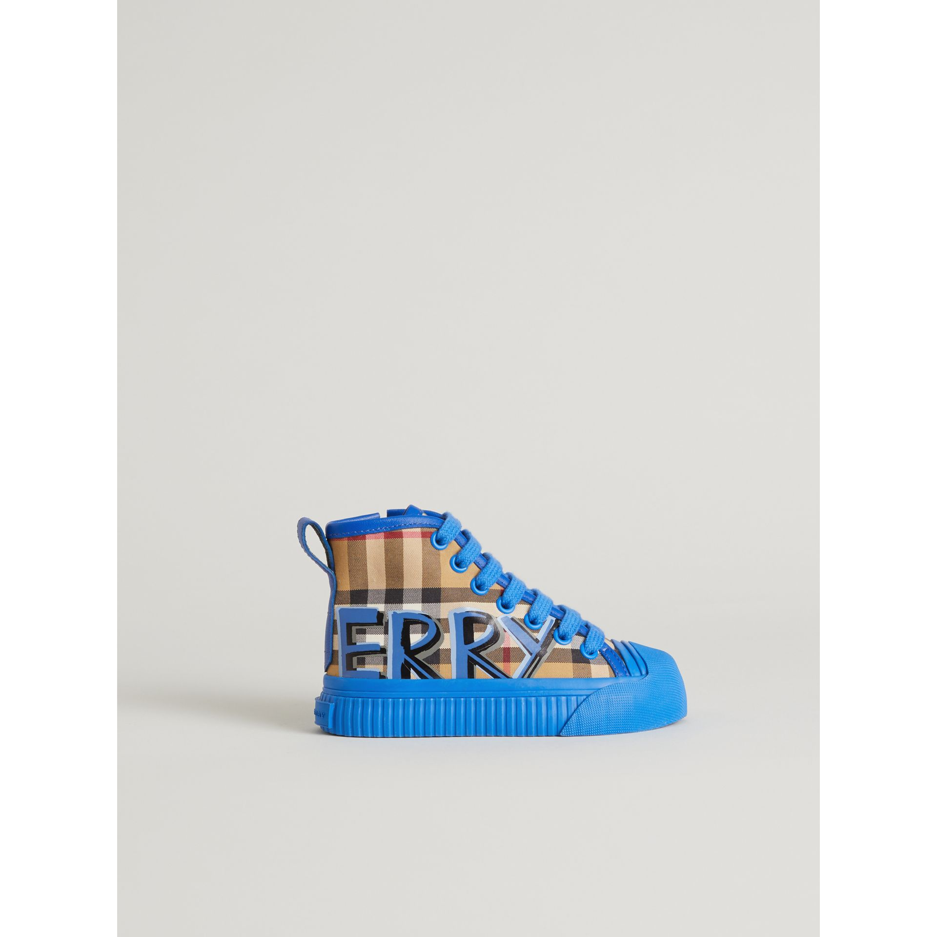 Graffiti Vintage Check High-top Sneakers in Bright Sky Blue - Children | Burberry - gallery image 3