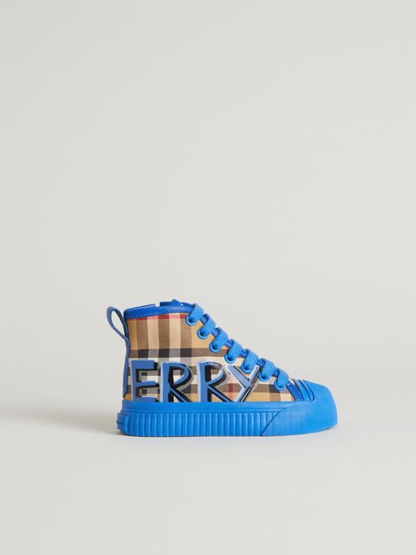 Graffiti Vintage Check High-top Sneakers in Bright Sky Blue - Children | Burberry - cell image 3
