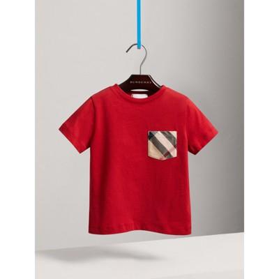 Burberry - T-shirt en coton avec poche à motif check - 1