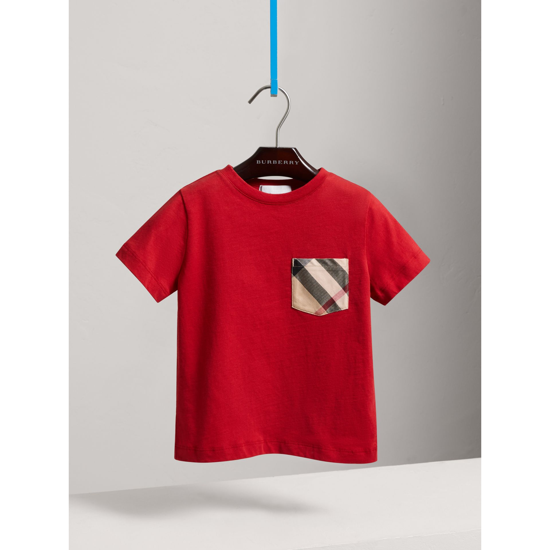 Check Pocket Cotton T-shirt in Military Red - Boy | Burberry United States - gallery image 0