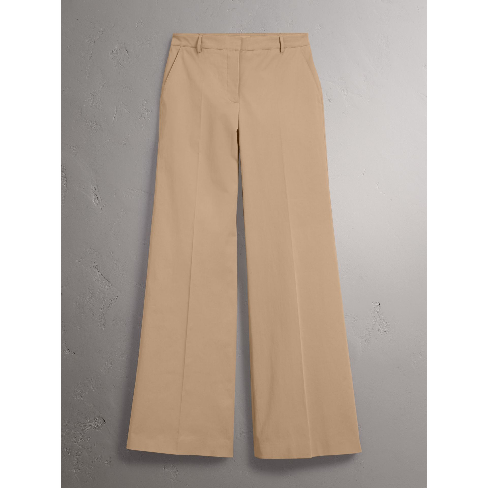 Cotton Twill Wide-leg Trousers in Camel - Women | Burberry - gallery image 3