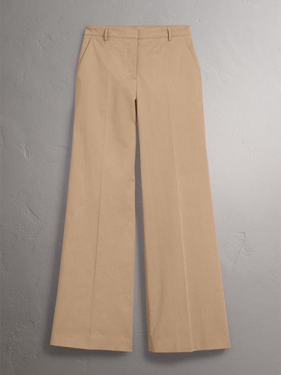 Pantaloni a gamba larga in twill di cotone - Donna | Burberry - cell image 2