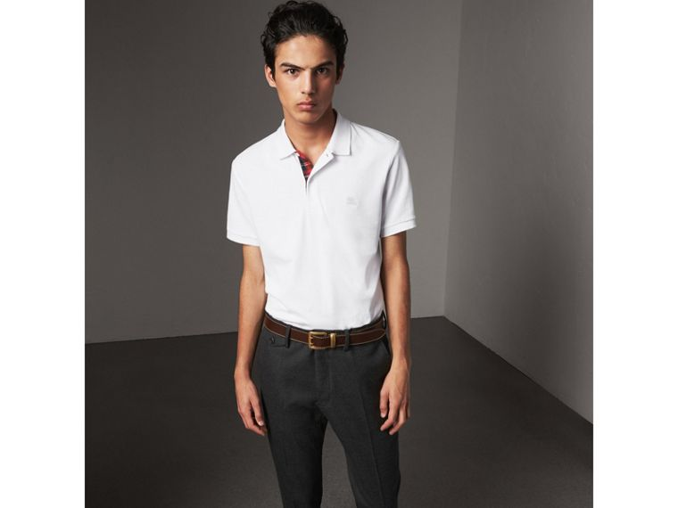 Tartan Trim Cotton Piqué Polo Shirt in White - Men | Burberry - cell image 4