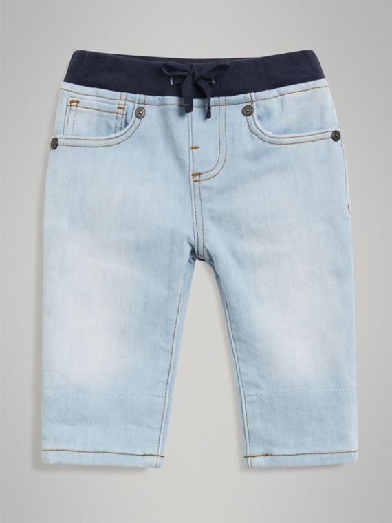 Relaxed Fit Pull-on Denim Jeans in Light Blue