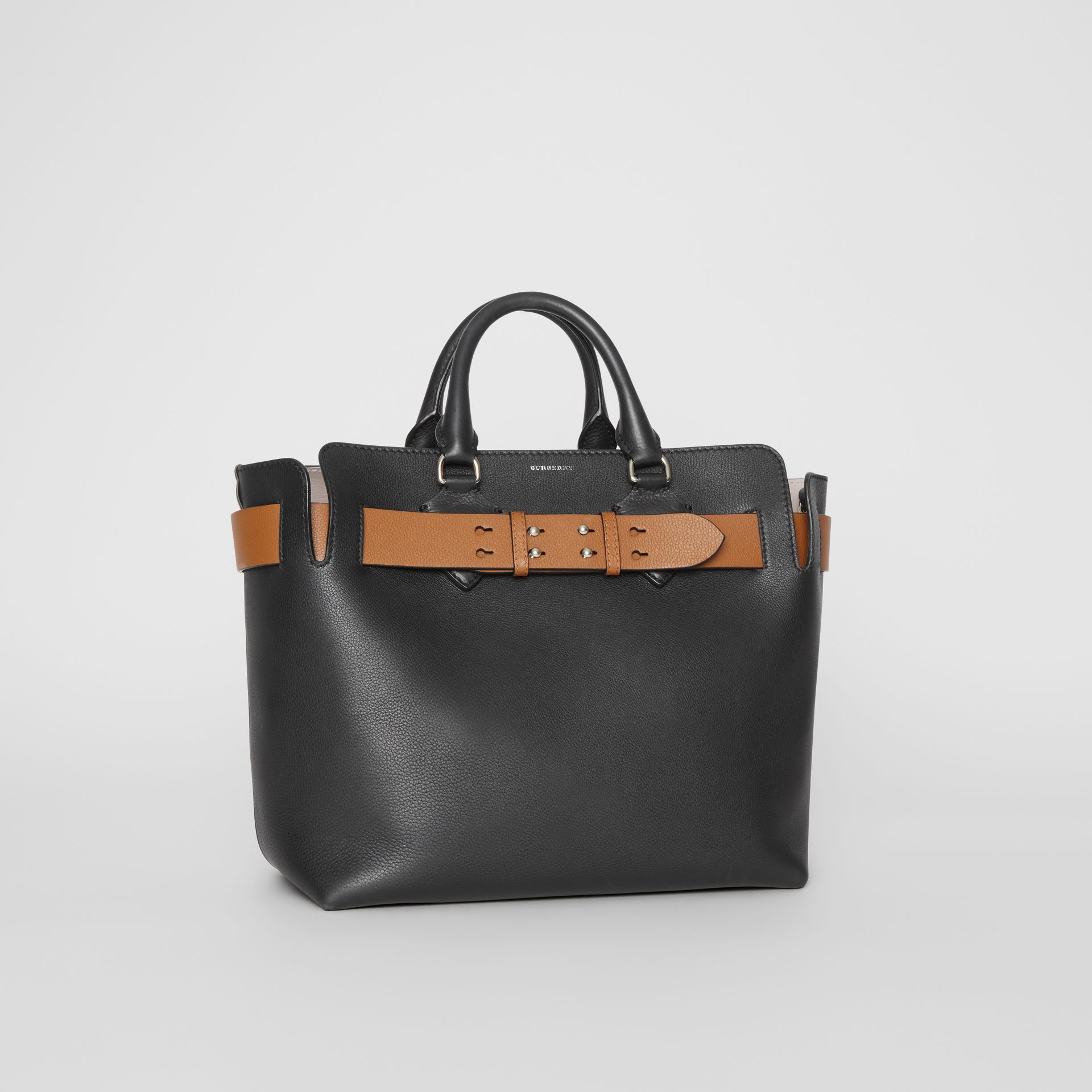 The Medium Leather Belt Bag in Black/tan - Women | Burberry United Kingdom - gallery image 6