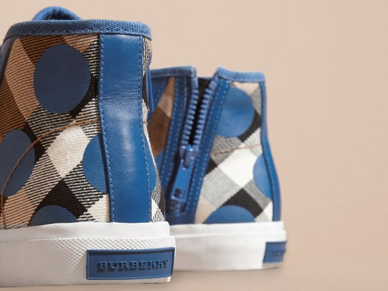 Lupin blue Leather Trim Dot Print Check High-top Trainers Lupin Blue - cell image 1