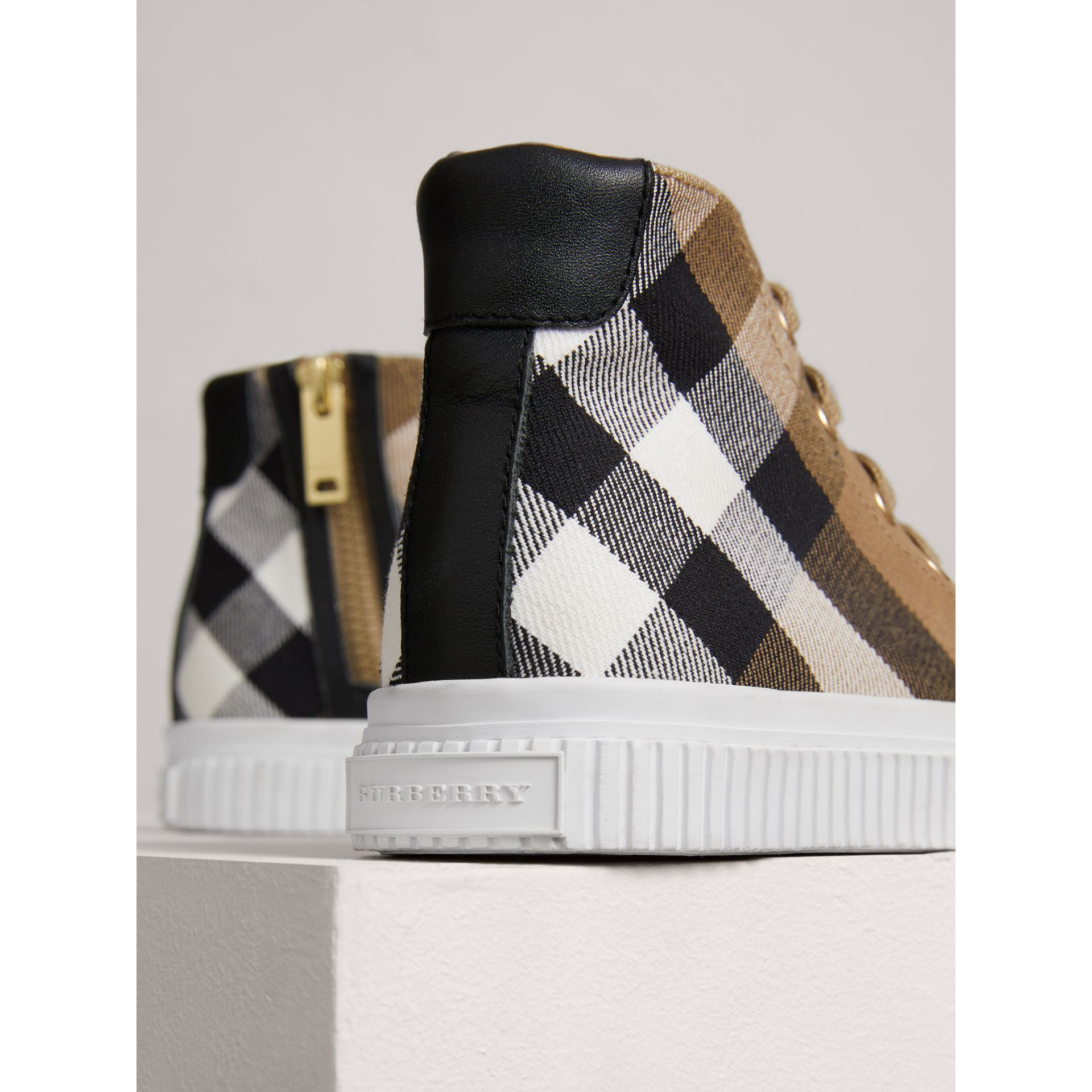 House Check and Leather High-top Trainers in Classic/optic White | Burberry - gallery image 1