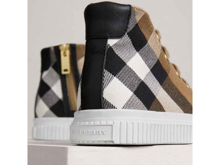 House Check and Leather High-top Sneakers in Classic/optic White | Burberry - cell image 1