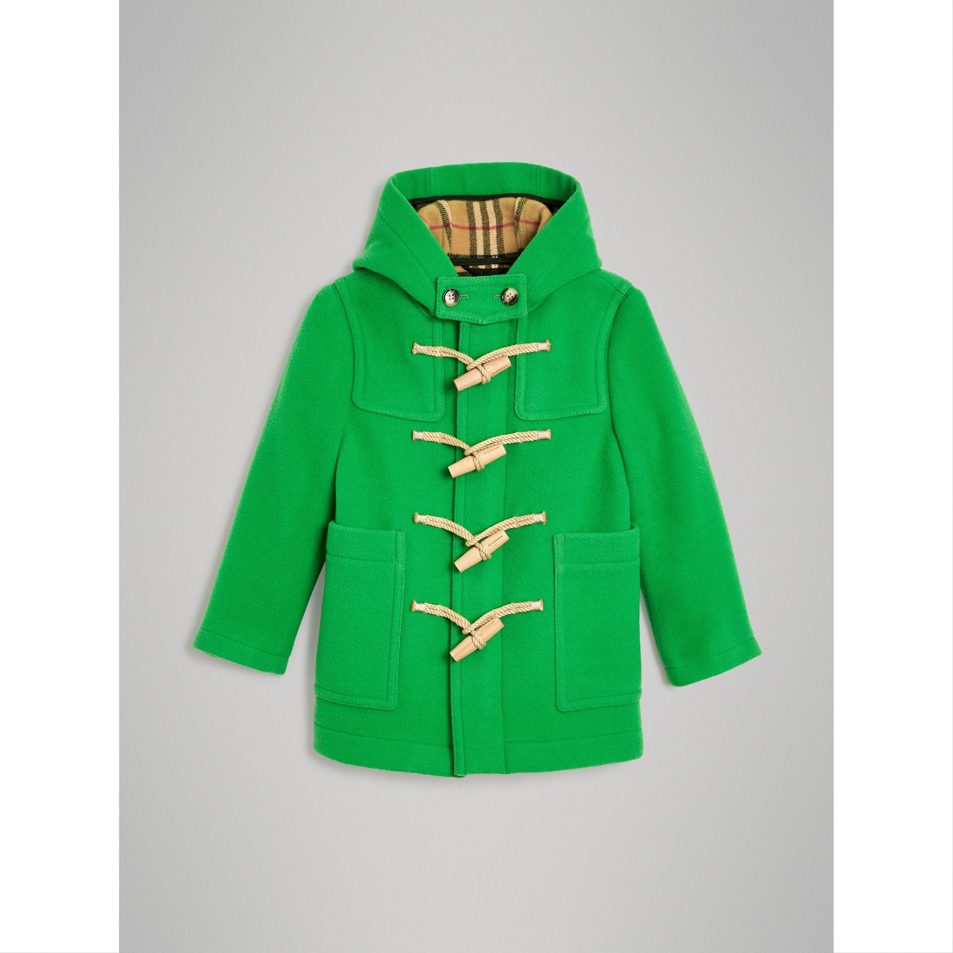 Double-faced Wool Duffle Coat in Bright Grass Green | Burberry Australia - gallery image 0