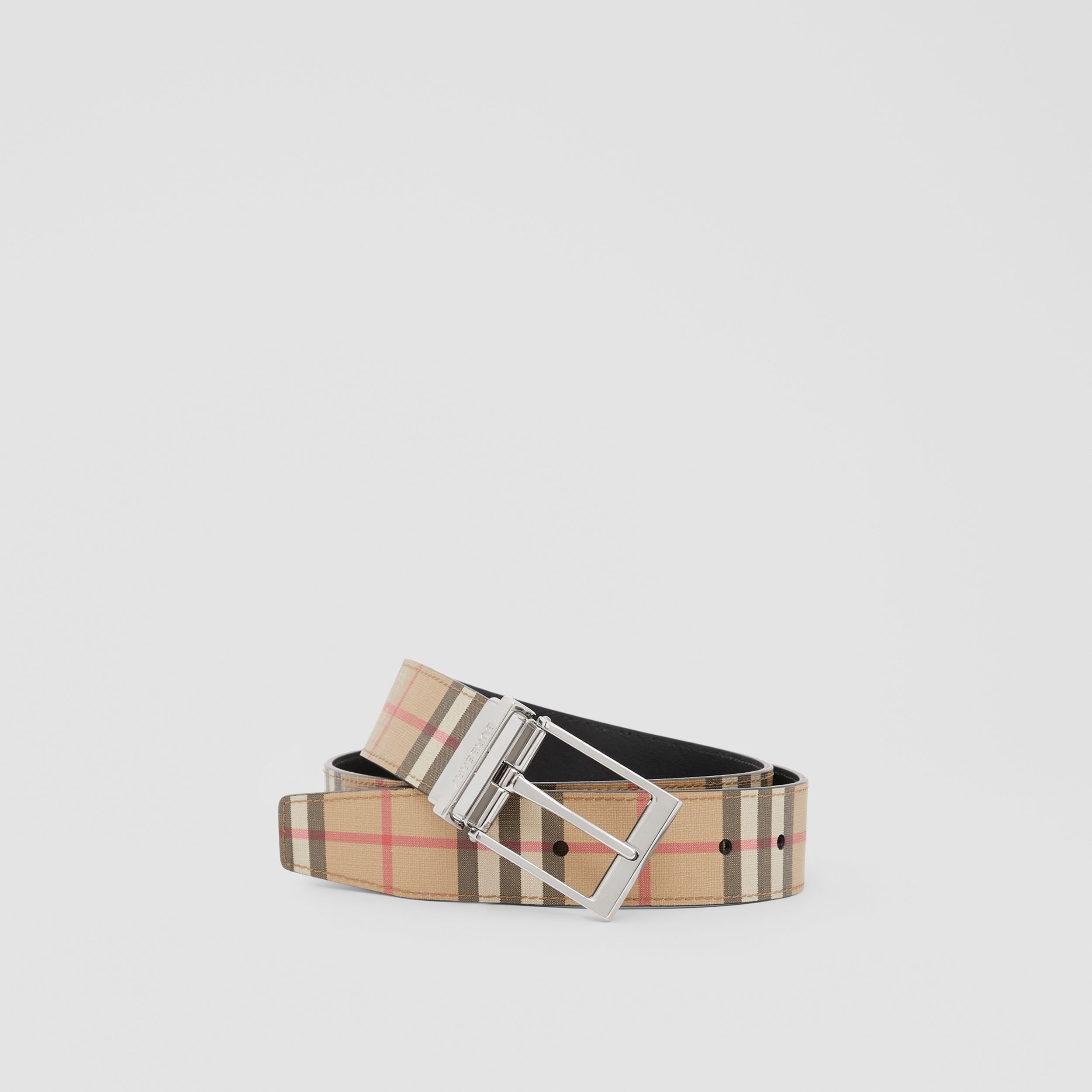 Reversible Vintage Check E-canvas and Leather Belt in Archive Beige/black - Men | Burberry - 1