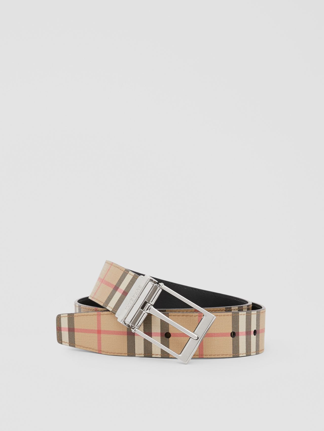 Reversible Vintage Check E-canvas and Leather Belt in Archive Beige/black