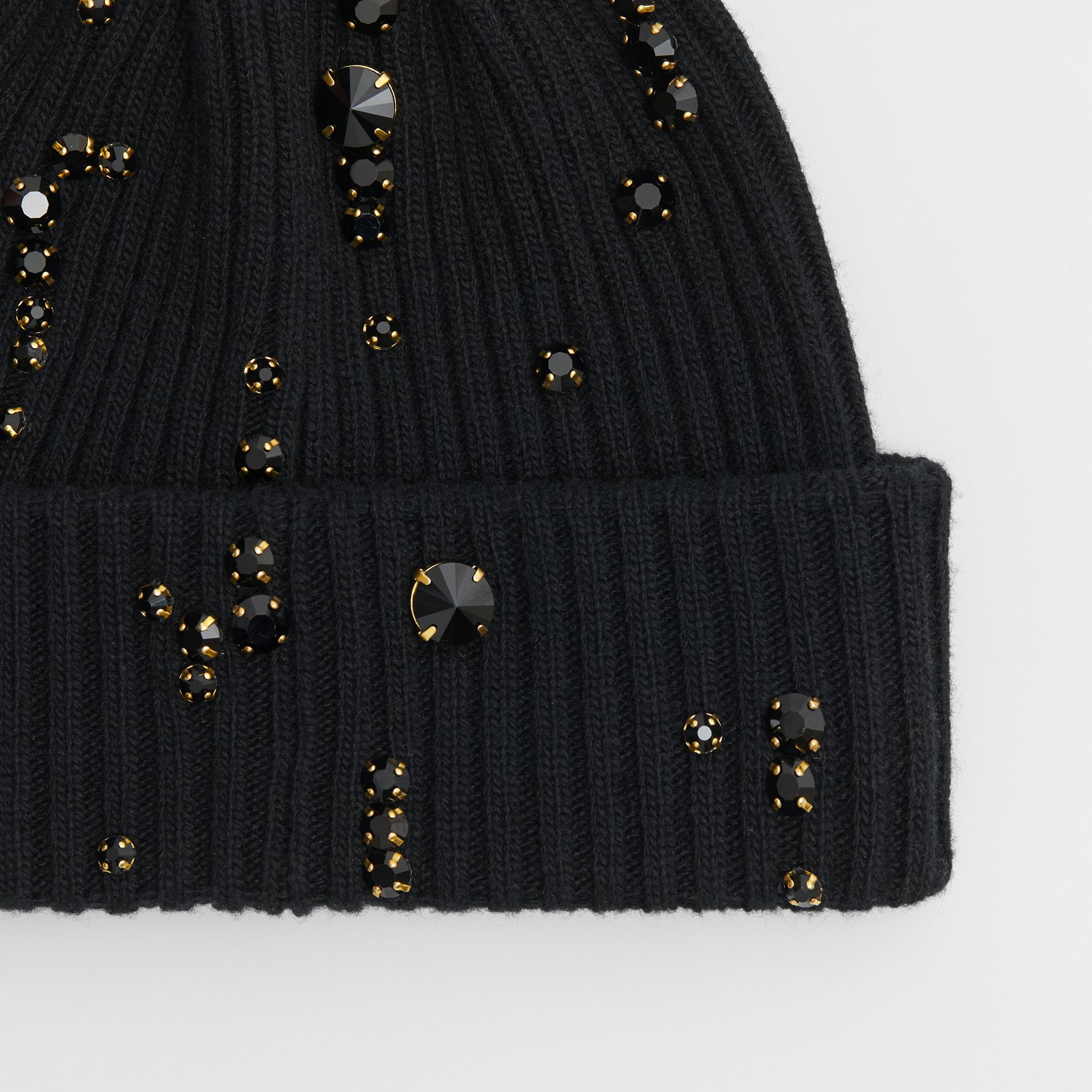 Embellished Rib Knit Wool Beanie in Black | Burberry - gallery image 1