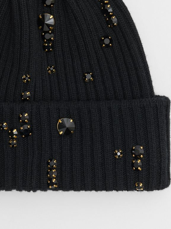 Embellished Rib Knit Wool Beanie in Black | Burberry - cell image 1