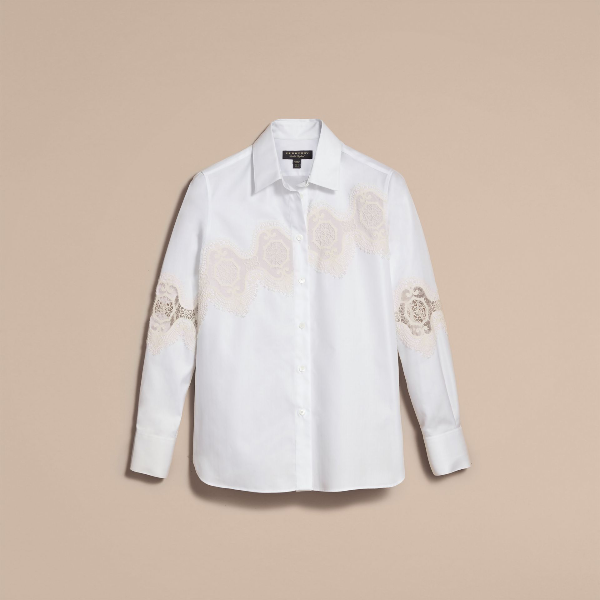 Lace Cutwork Herringbone Cotton Shirt in White - Women | Burberry - gallery image 3