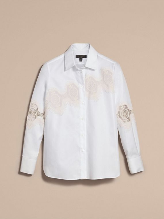 Lace Cutwork Herringbone Cotton Shirt in White - Women | Burberry - cell image 3