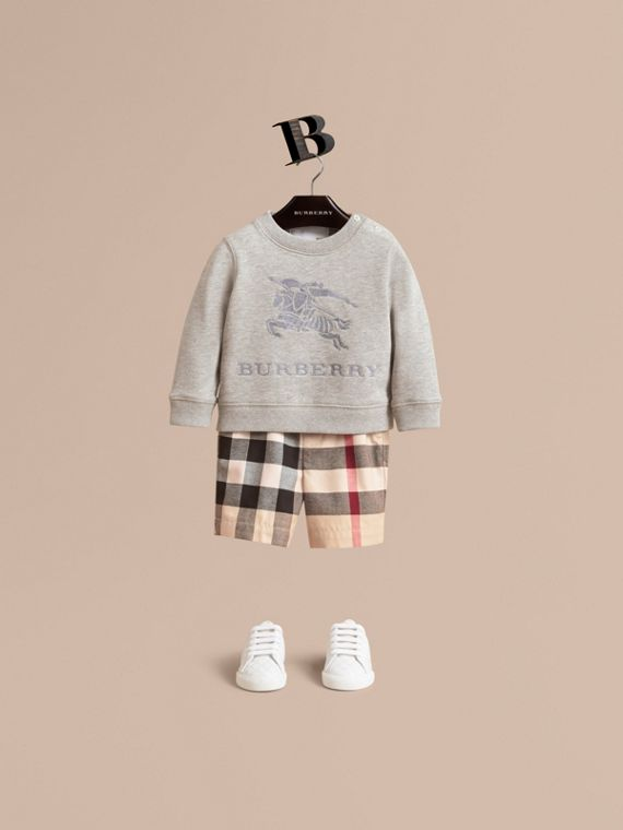 Short chino en coton à motif check (Stone) | Burberry